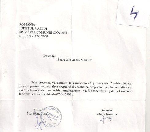 Adresa 1237/03.04.2009