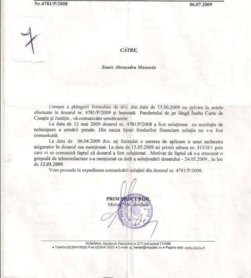 a 2-a comunicare 415, emisa in 06.07.2009, semnata de Prim-Procuror Mircea Wili Brojban.